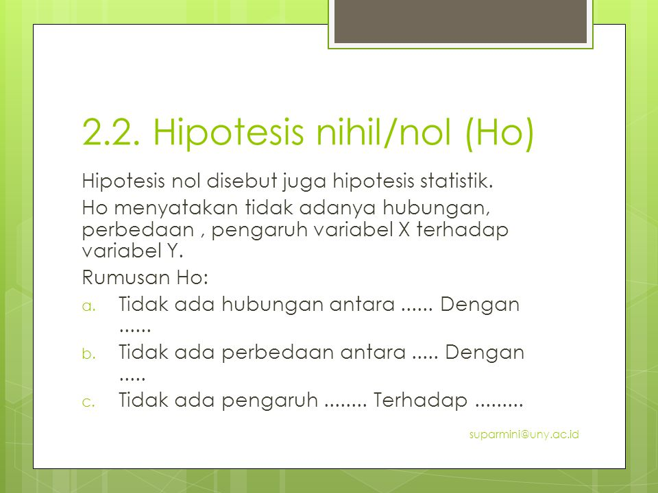 2.2. Hipotesis nihil/nol (Ho)