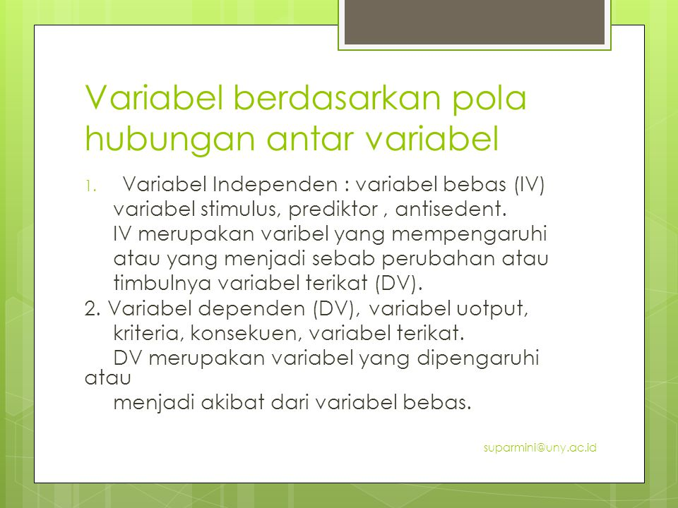Variabel berdasarkan pola hubungan antar variabel