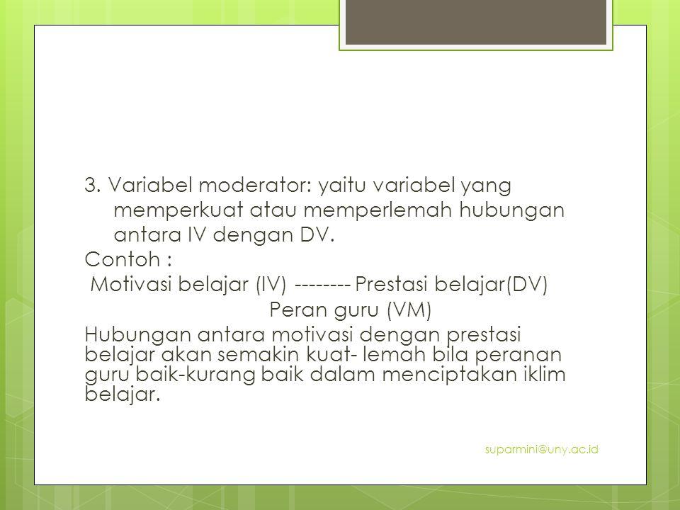 3. Variabel moderator: yaitu variabel yang memperkuat atau memperlemah hubungan antara IV dengan DV. Contoh : Motivasi belajar (IV) -------- Prestasi belajar(DV) Peran guru (VM) Hubungan antara motivasi dengan prestasi belajar akan semakin kuat- lemah bila peranan guru baik-kurang baik dalam menciptakan iklim belajar.