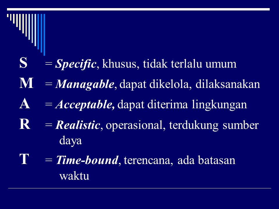 S = Specific, khusus, tidak terlalu umum