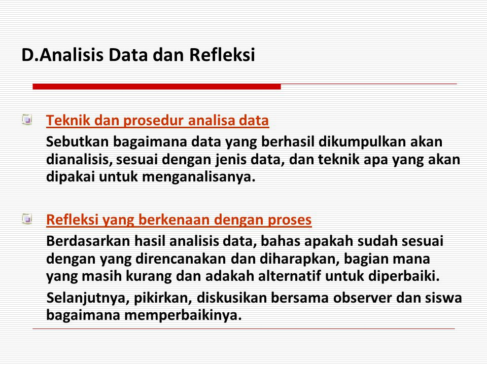 D.Analisis Data dan Refleksi