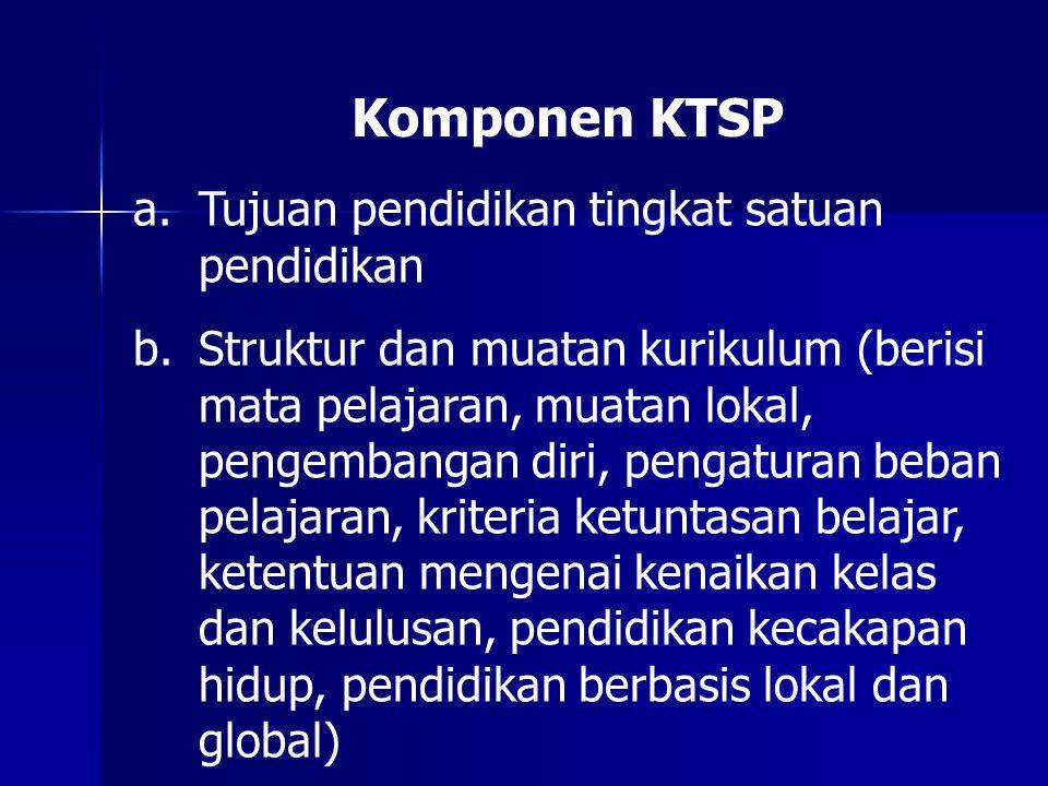 Komponen KTSP Tujuan pendidikan tingkat satuan pendidikan