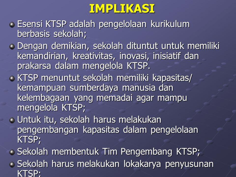 IMPLIKASI Esensi KTSP adalah pengelolaan kurikulum berbasis sekolah;