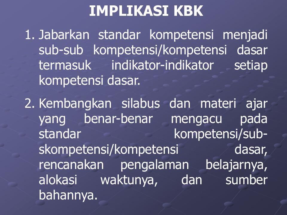 IMPLIKASI KBK Jabarkan standar kompetensi menjadi sub-sub kompetensi/kompetensi dasar termasuk indikator-indikator setiap kompetensi dasar.