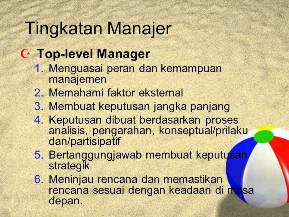 Tingkatan Manajer Top-level Manager