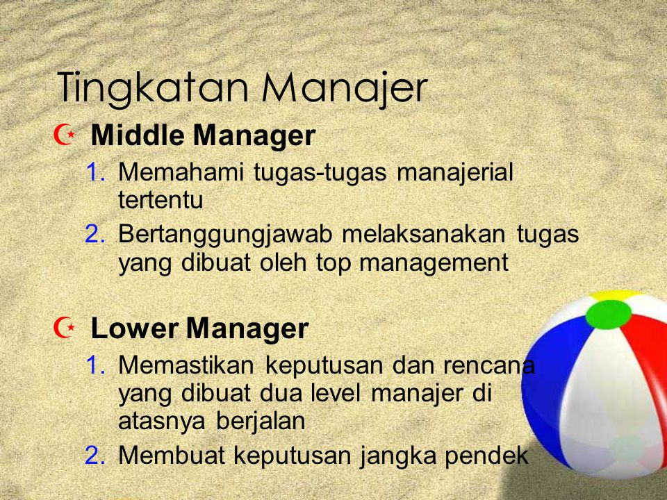 Tingkatan Manajer Middle Manager Lower Manager