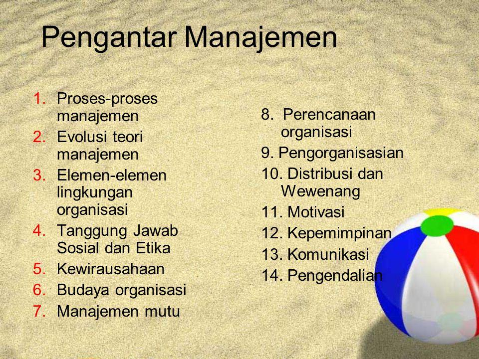 Pengantar Manajemen Proses-proses manajemen Evolusi teori manajemen