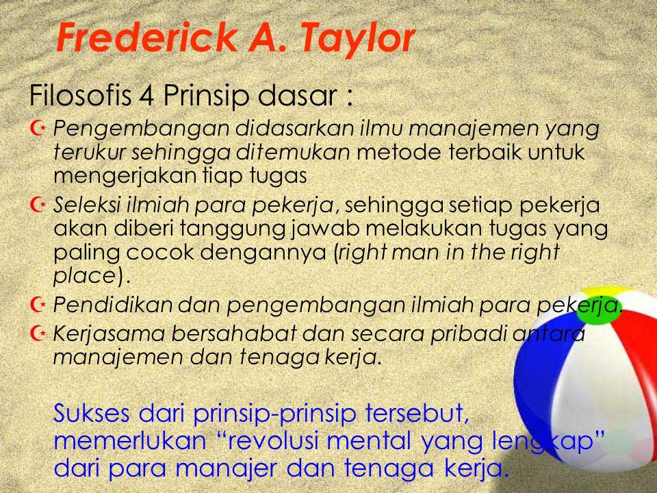 Frederick A. Taylor Filosofis 4 Prinsip dasar :