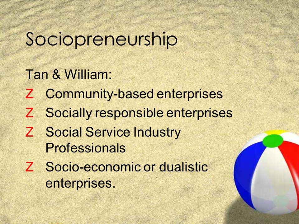 Sociopreneurship Tan & William: Community-based enterprises