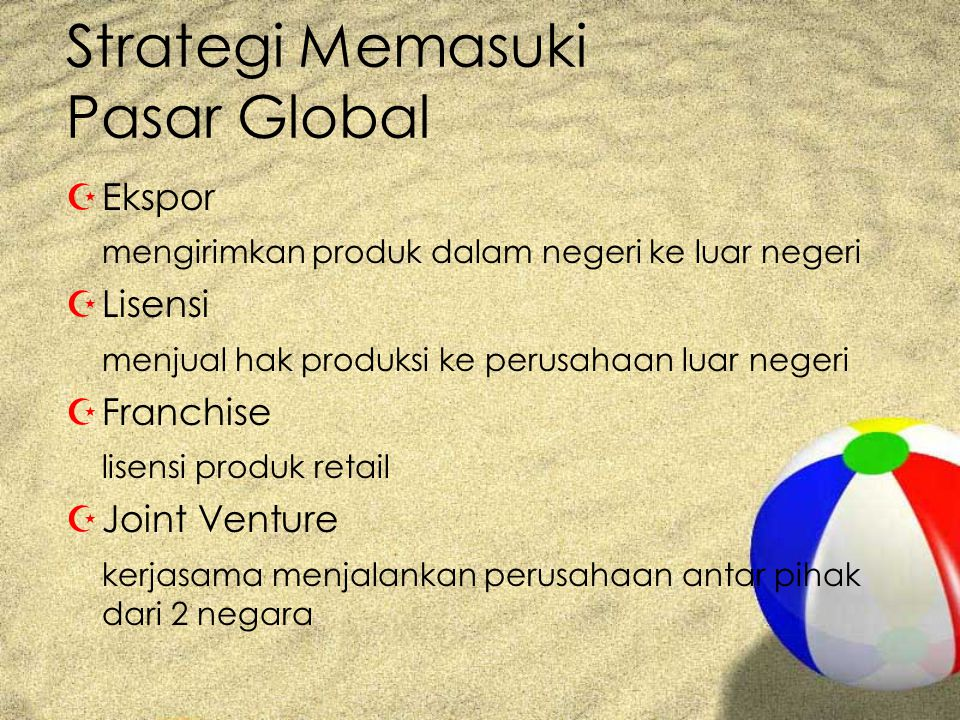 Strategi Memasuki Pasar Global