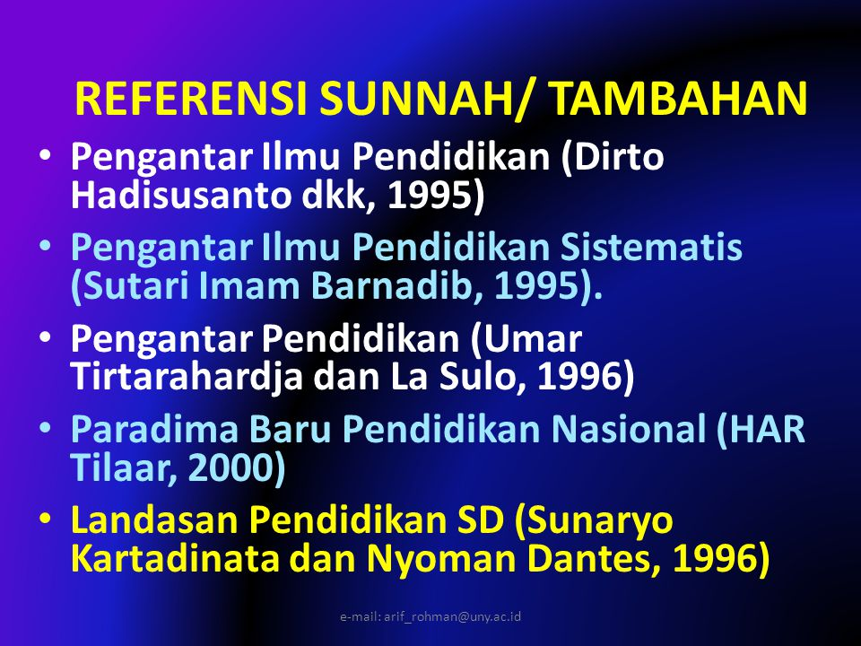 REFERENSI SUNNAH/ TAMBAHAN