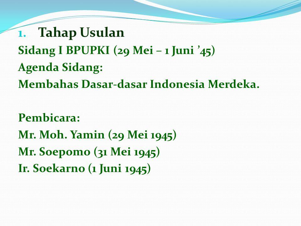 Tahap Usulan Sidang I BPUPKI (29 Mei – 1 Juni '45) Agenda Sidang: