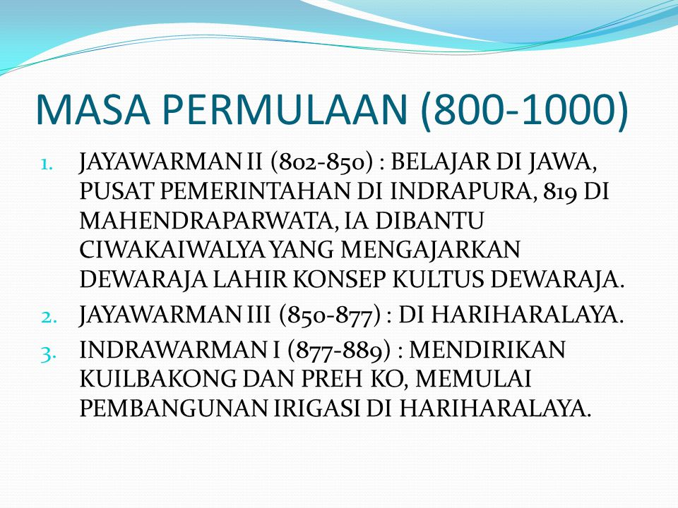 MASA PERMULAAN (800-1000)