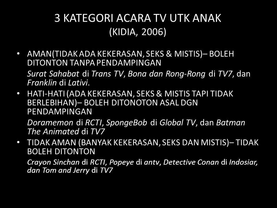 3 KATEGORI ACARA TV UTK ANAK (KIDIA, 2006)