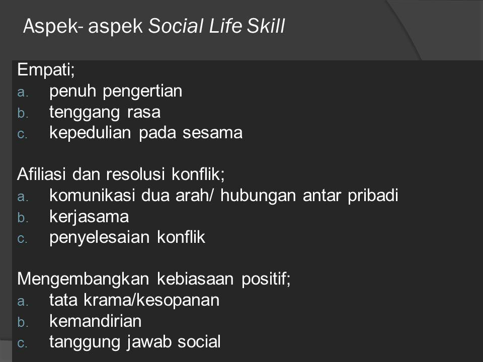 Aspek- aspek Social Life Skill