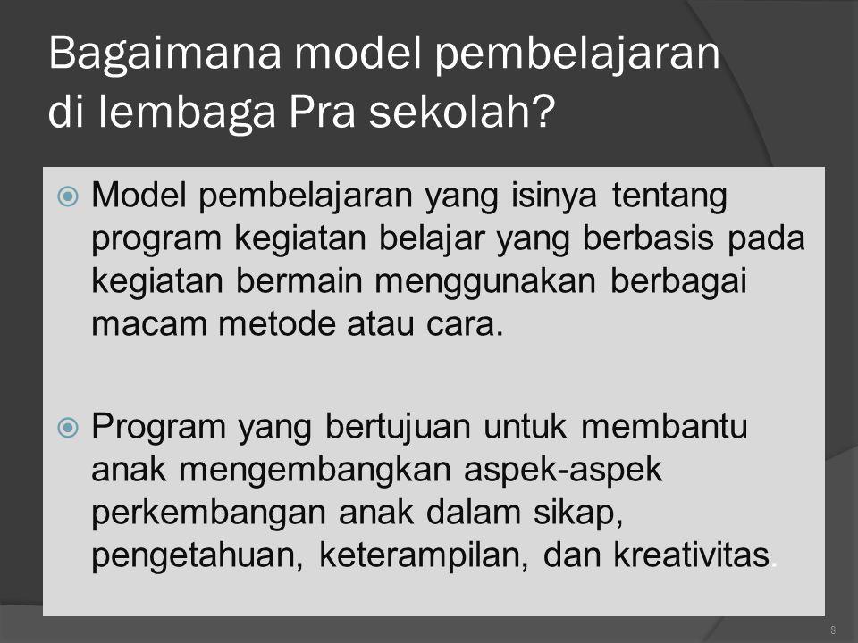 Bagaimana model pembelajaran di lembaga Pra sekolah