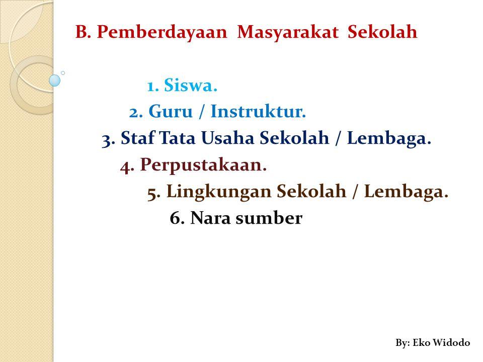 B. Pemberdayaan Masyarakat Sekolah 1. Siswa. 2. Guru / Instruktur.
