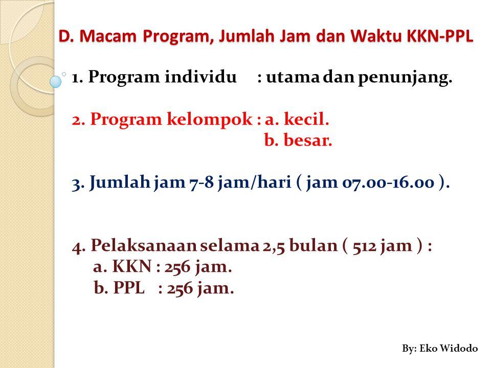 D. Macam Program, Jumlah Jam dan Waktu KKN-PPL