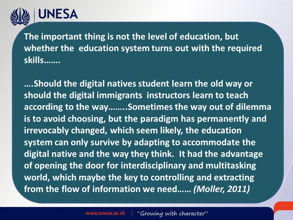The important thing is not the level of education, but whether the education system turns out with the required skills…….