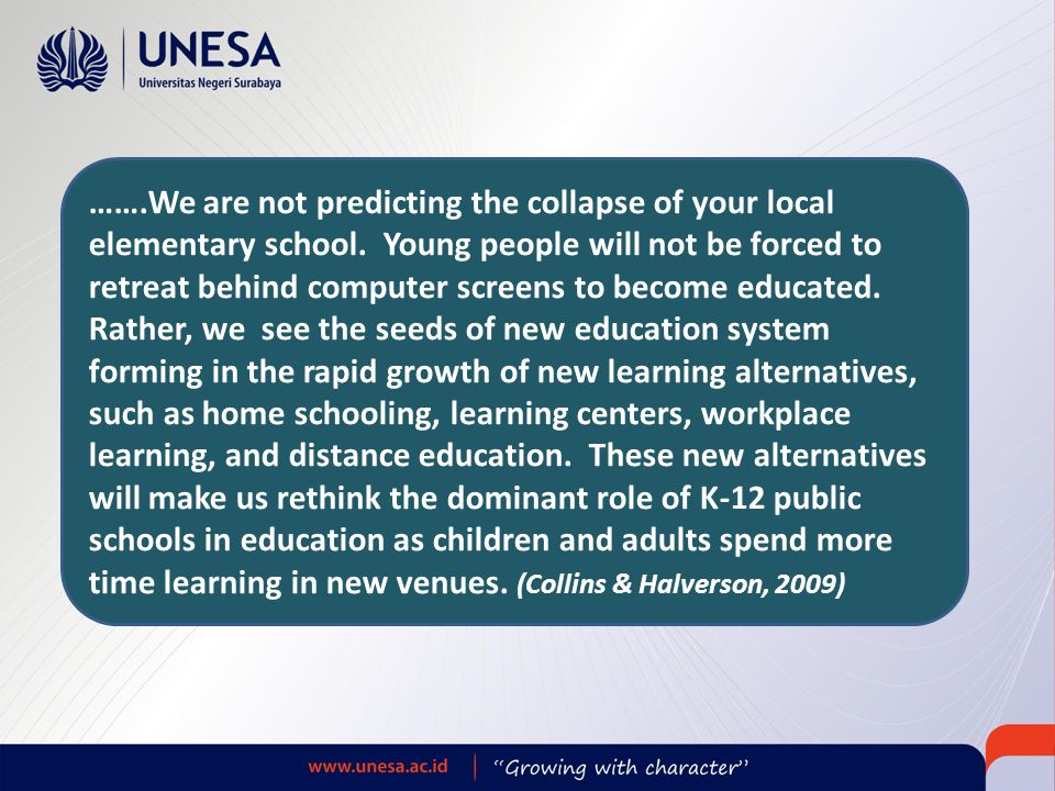 ……. We are not predicting the collapse of your local elementary school