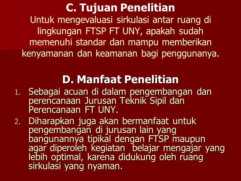 C. Tujuan Penelitian Untuk mengevaluasi sirkulasi antar ruang di lingkungan FTSP FT UNY, apakah sudah memenuhi standar dan mampu memberikan kenyamanan dan keamanan bagi penggunanya.