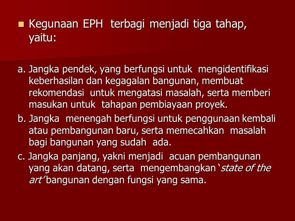 Kegunaan EPH terbagi menjadi tiga tahap, yaitu: