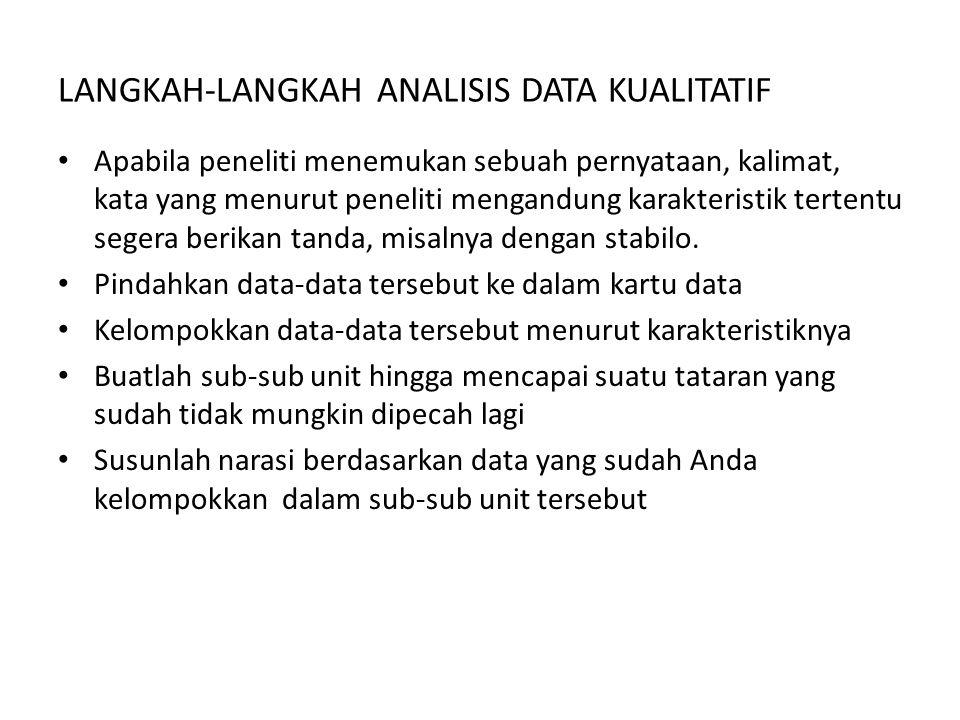 LANGKAH-LANGKAH ANALISIS DATA KUALITATIF