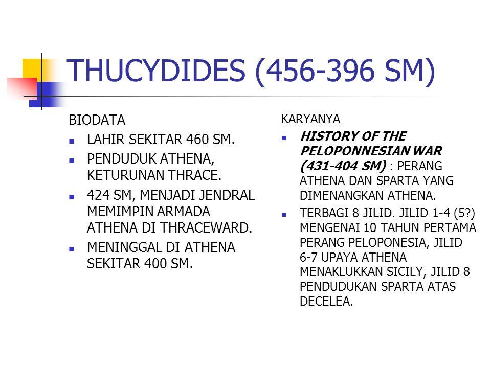 THUCYDIDES (456-396 SM) BIODATA LAHIR SEKITAR 460 SM.