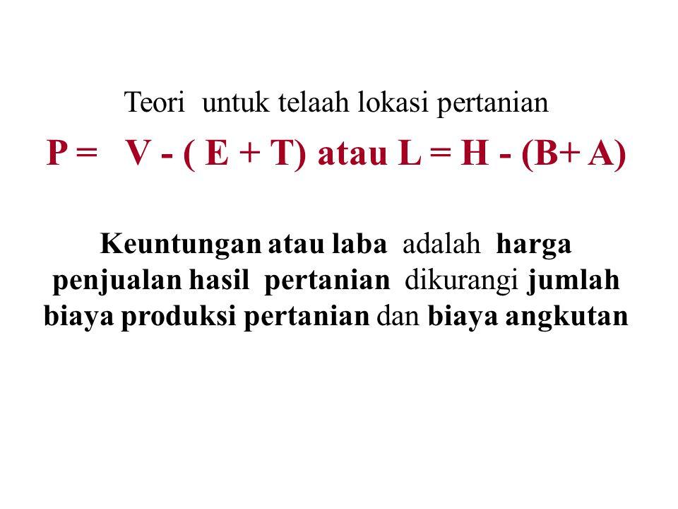 P = V - ( E + T) atau L = H - (B+ A)