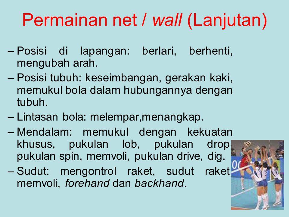 Permainan net / wall (Lanjutan)