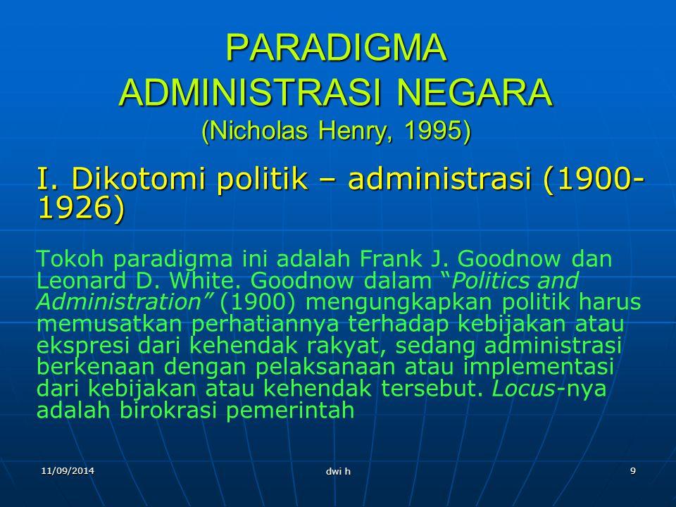 PARADIGMA ADMINISTRASI NEGARA (Nicholas Henry, 1995)
