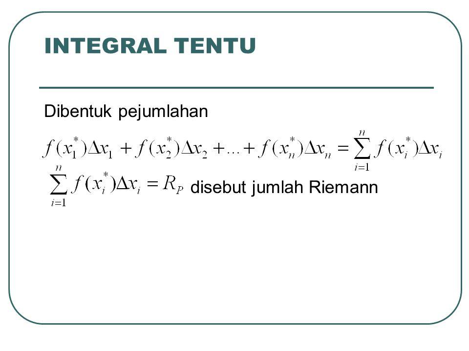 INTEGRAL TENTU Dibentuk pejumlahan disebut jumlah Riemann