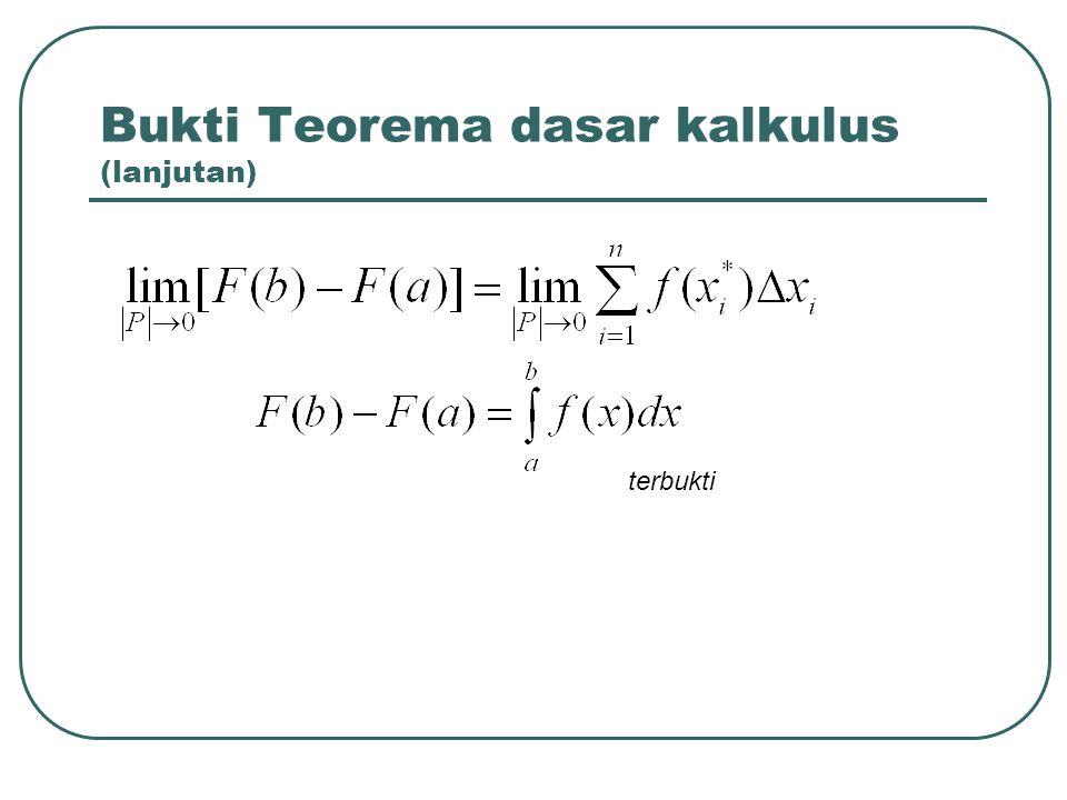 Bukti Teorema dasar kalkulus (lanjutan)