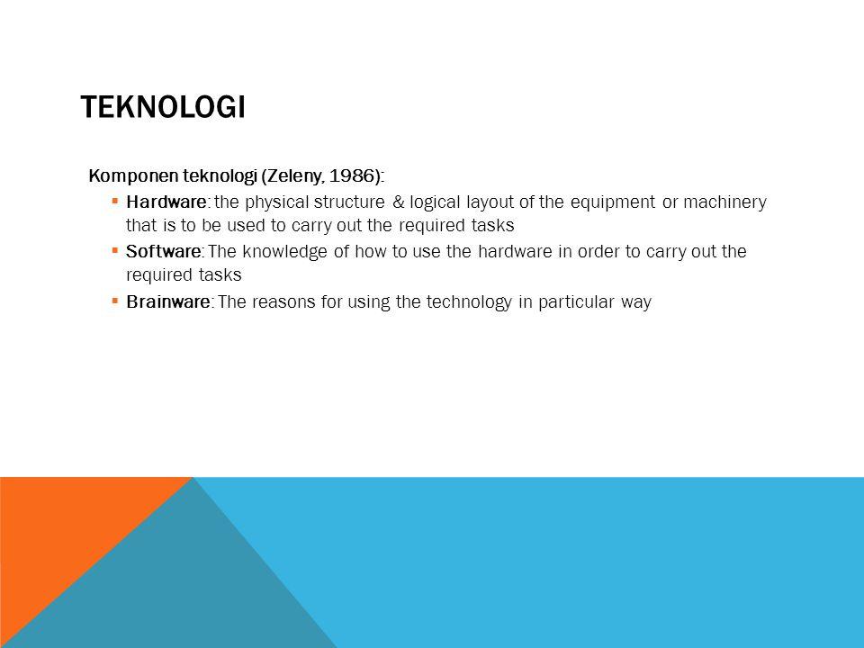 TEKNOLOGI Komponen teknologi (Zeleny, 1986):
