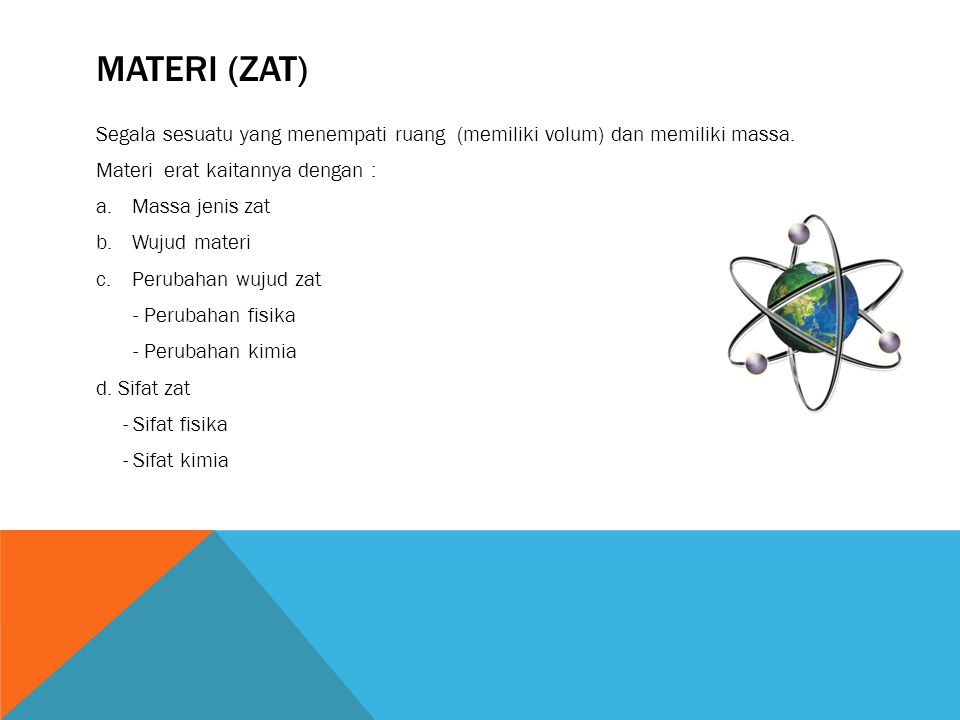 MATERI (ZAT) Segala sesuatu yang menempati ruang (memiliki volum) dan memiliki massa. Materi erat kaitannya dengan :