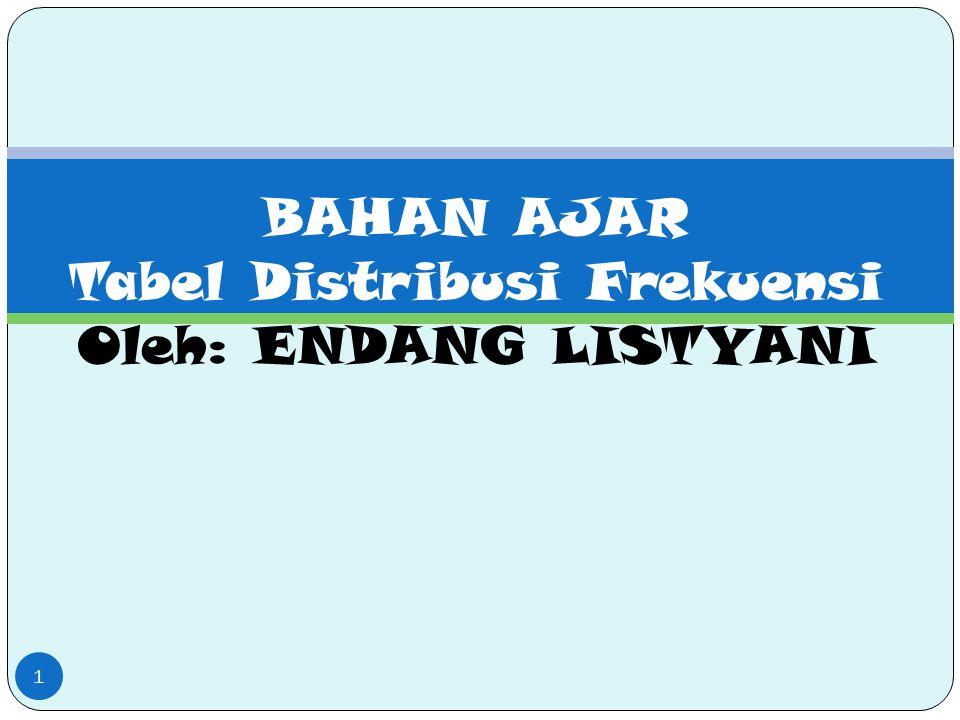 BAHAN AJAR Tabel Distribusi Frekuensi Oleh: ENDANG LISTYANI