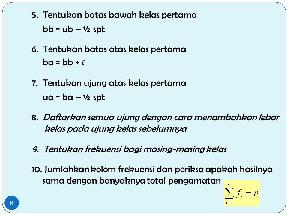 5. Tentukan batas bawah kelas pertama