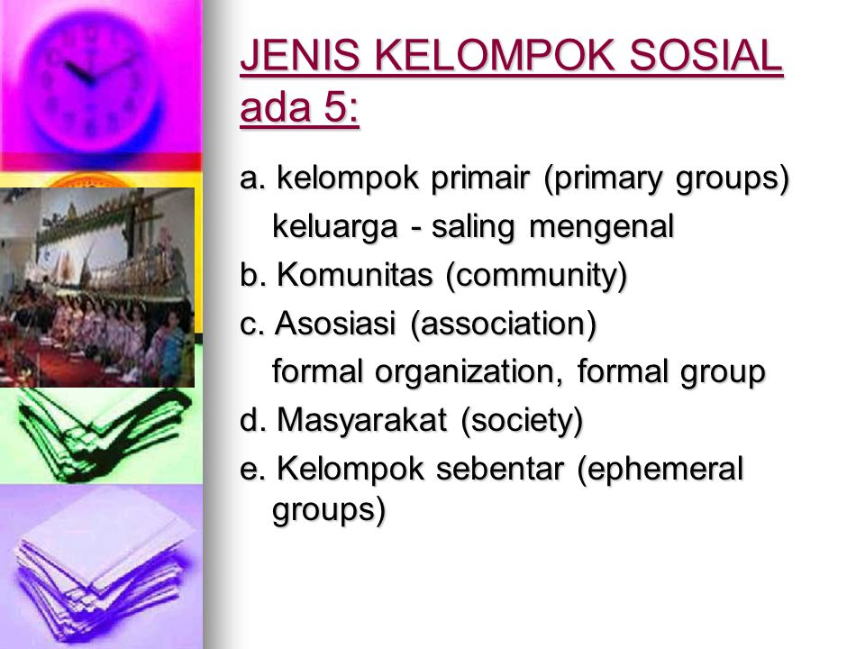 JENIS KELOMPOK SOSIAL ada 5:
