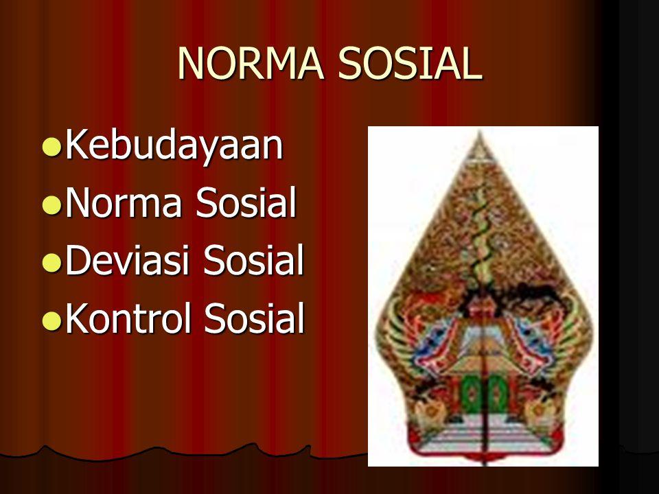 NORMA SOSIAL Kebudayaan Norma Sosial Deviasi Sosial Kontrol Sosial