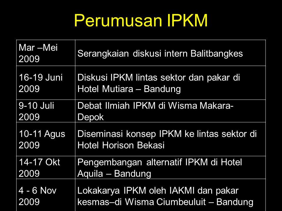 Perumusan IPKM Mar –Mei 2009 Serangkaian diskusi intern Balitbangkes