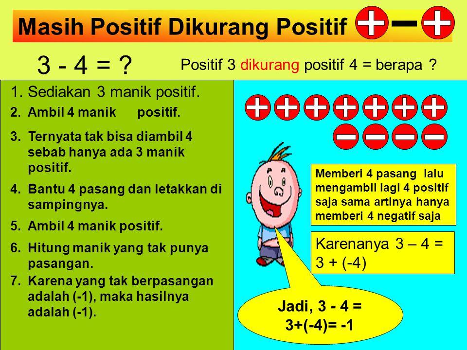 Positif 3 dikurang positif 4 = berapa