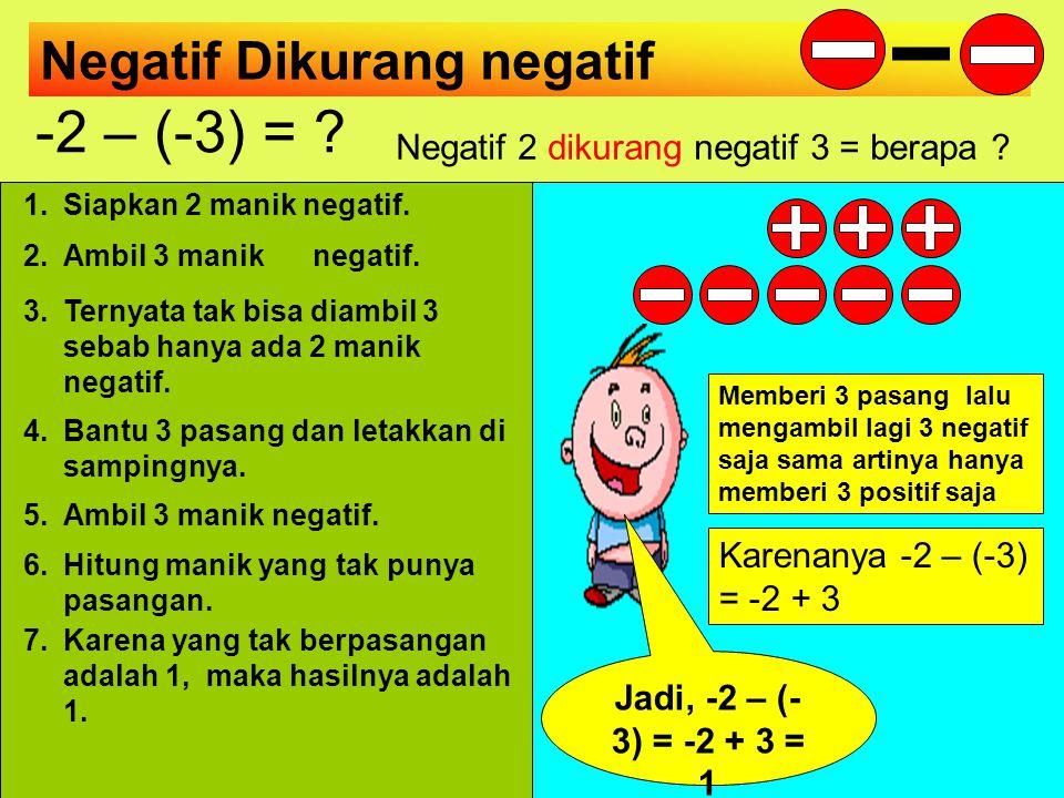 Negatif 2 dikurang negatif 3 = berapa