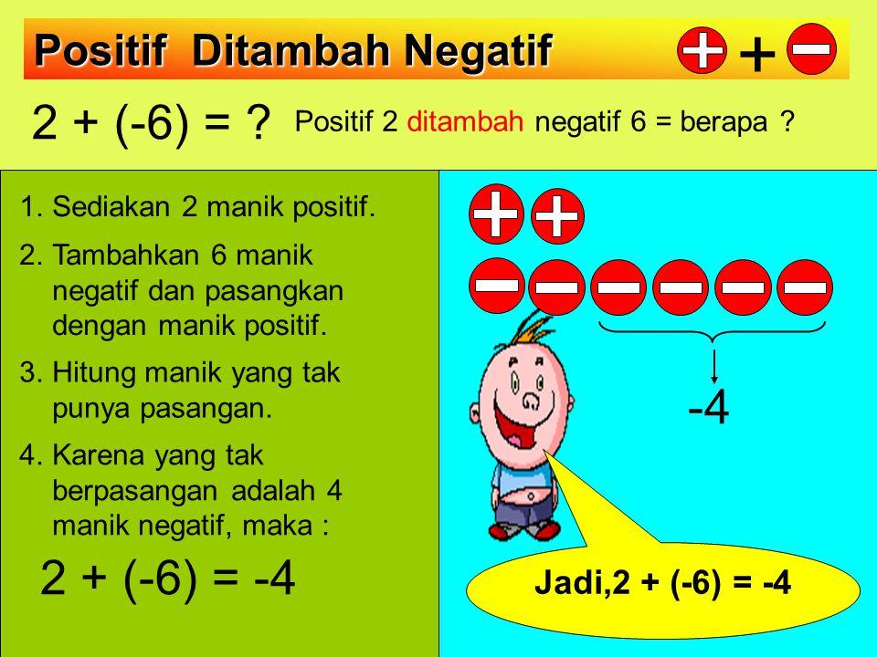 Positif 2 ditambah negatif 6 = berapa
