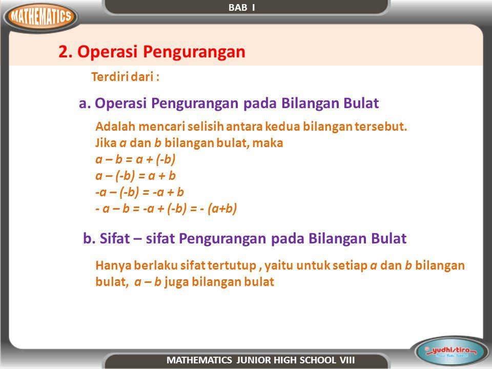2. Operasi Pengurangan a. Operasi Pengurangan pada Bilangan Bulat