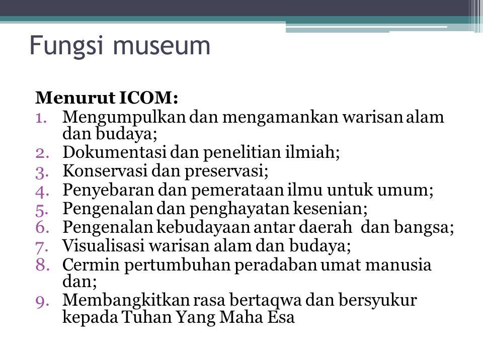 Fungsi museum Menurut ICOM: