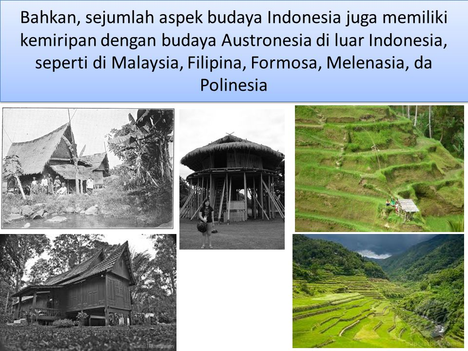 Bahkan, sejumlah aspek budaya Indonesia juga memiliki kemiripan dengan budaya Austronesia di luar Indonesia, seperti di Malaysia, Filipina, Formosa, Melenasia, da Polinesia