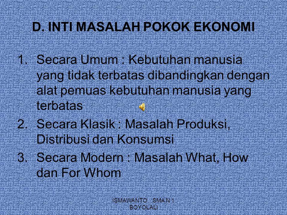 D. INTI MASALAH POKOK EKONOMI