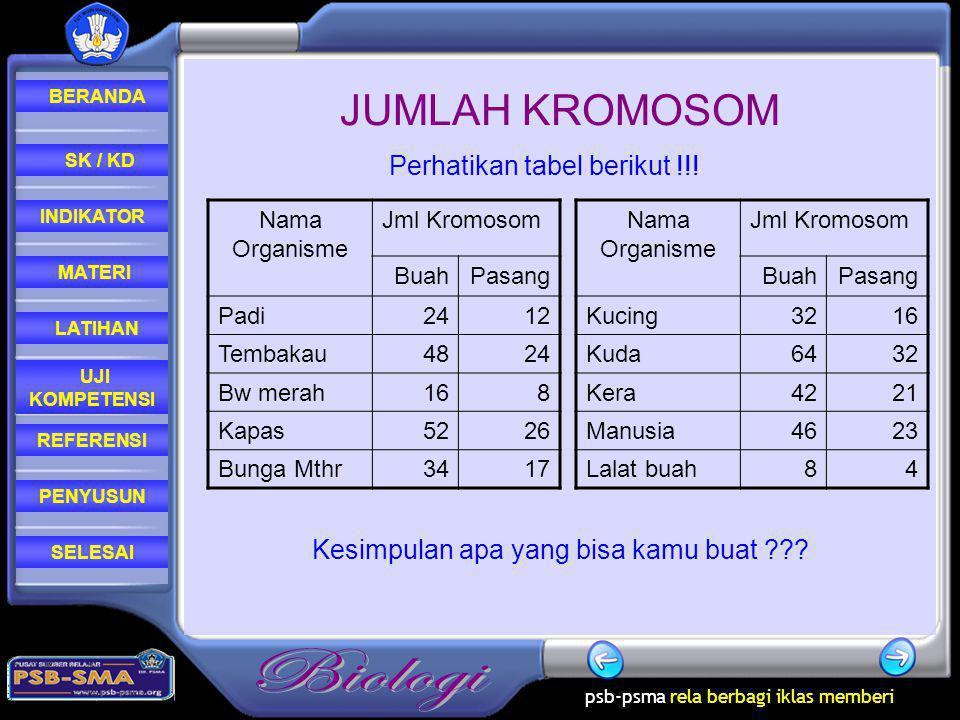 JUMLAH KROMOSOM Perhatikan tabel berikut !!!