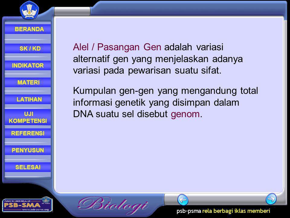 Alel / Pasangan Gen adalah variasi alternatif gen yang menjelaskan adanya variasi pada pewarisan suatu sifat.