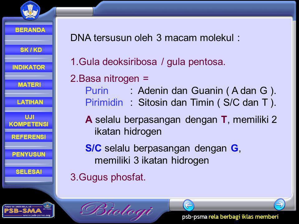 DNA tersusun oleh 3 macam molekul :